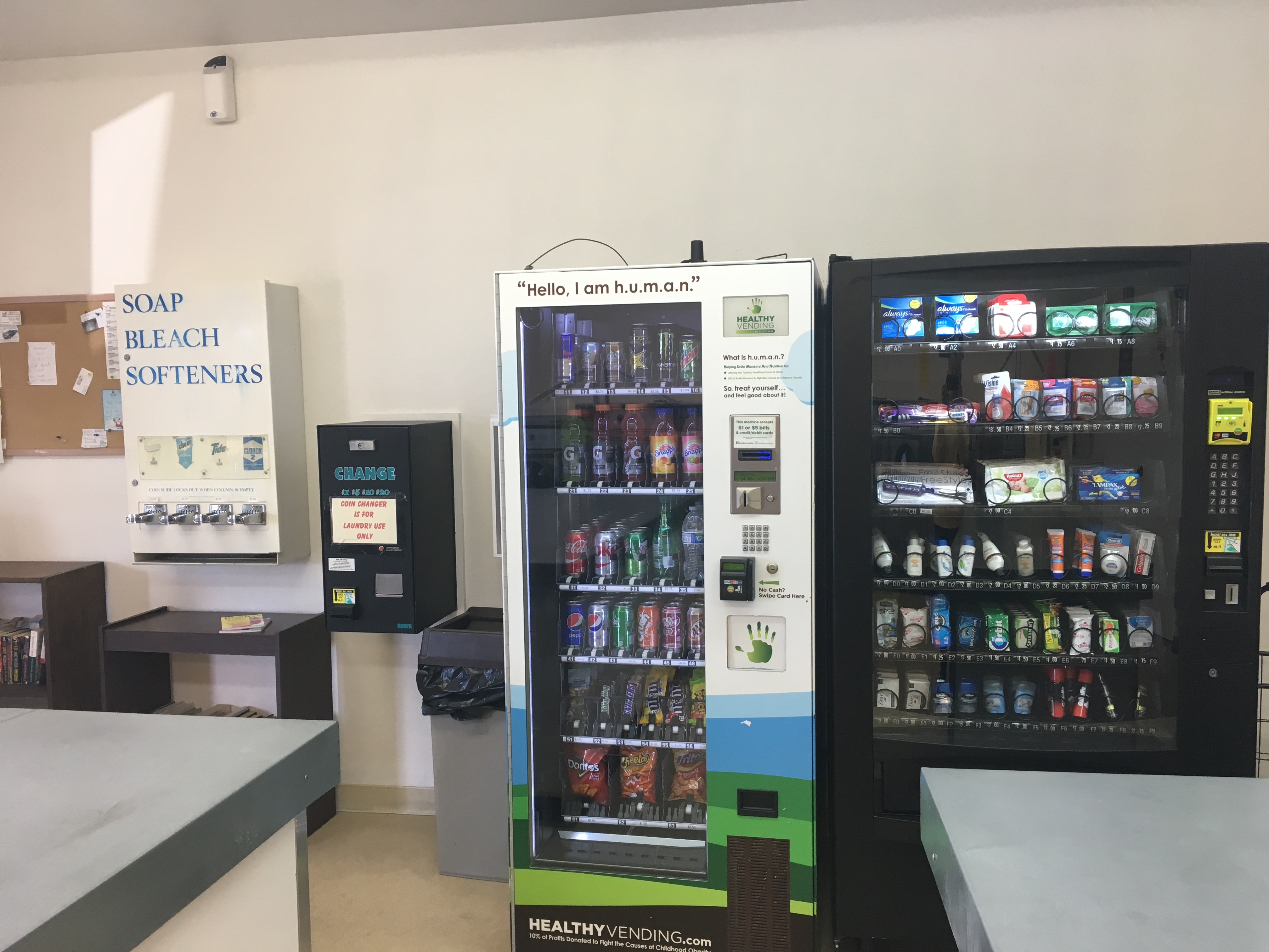 Vending machines in the laundry room