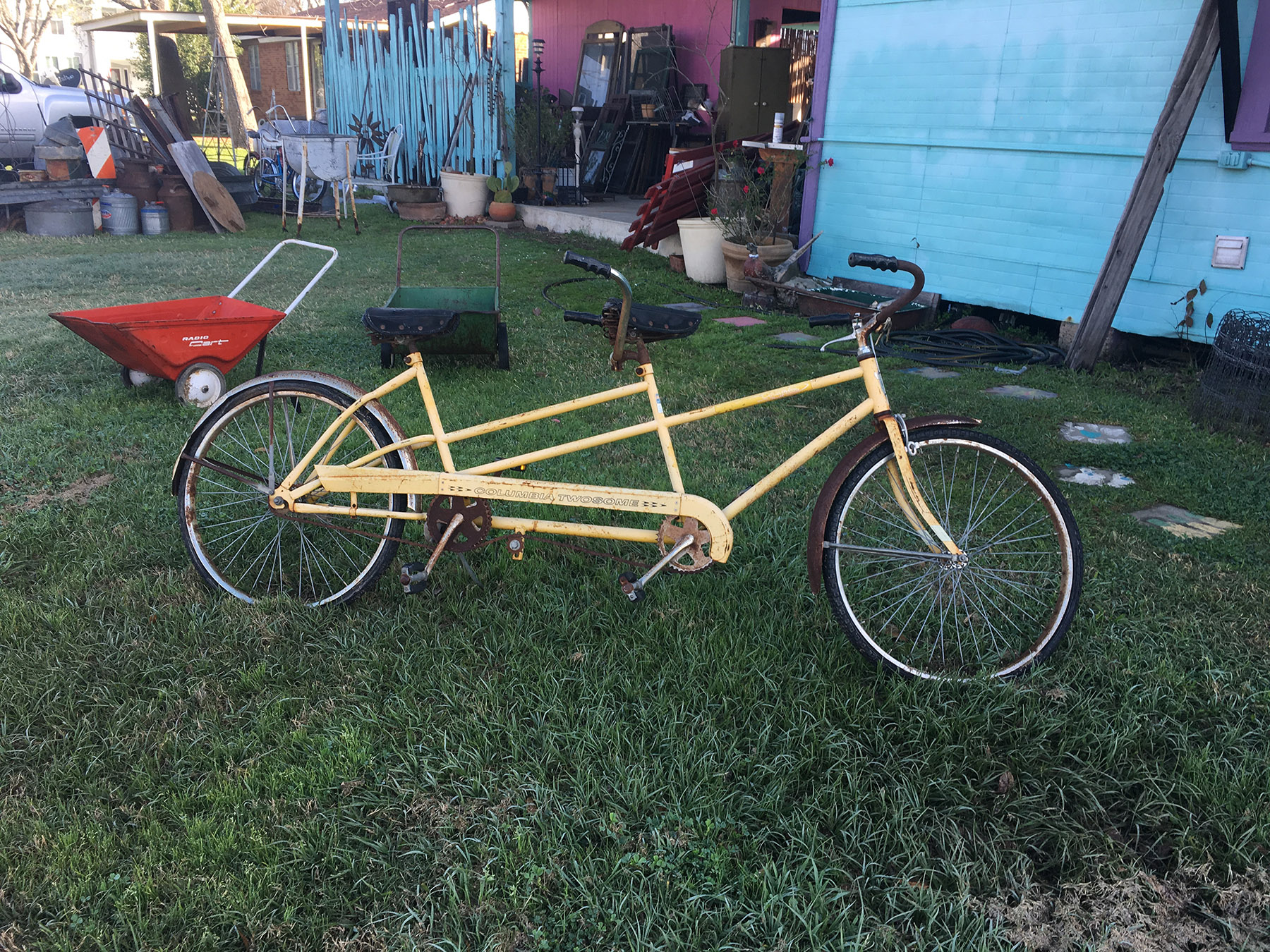 Rusty tandem bike