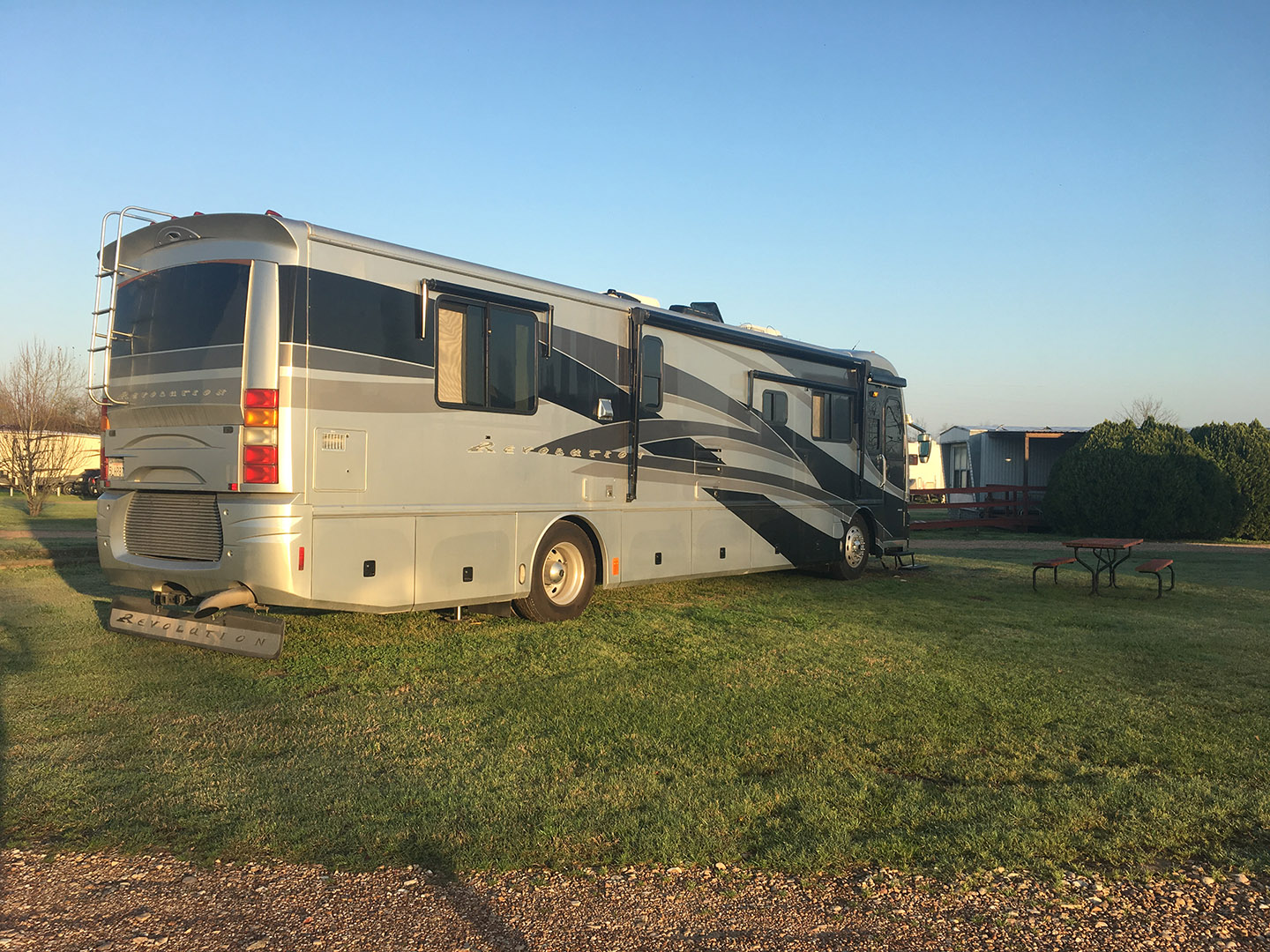 Our motorhome parked on the grass