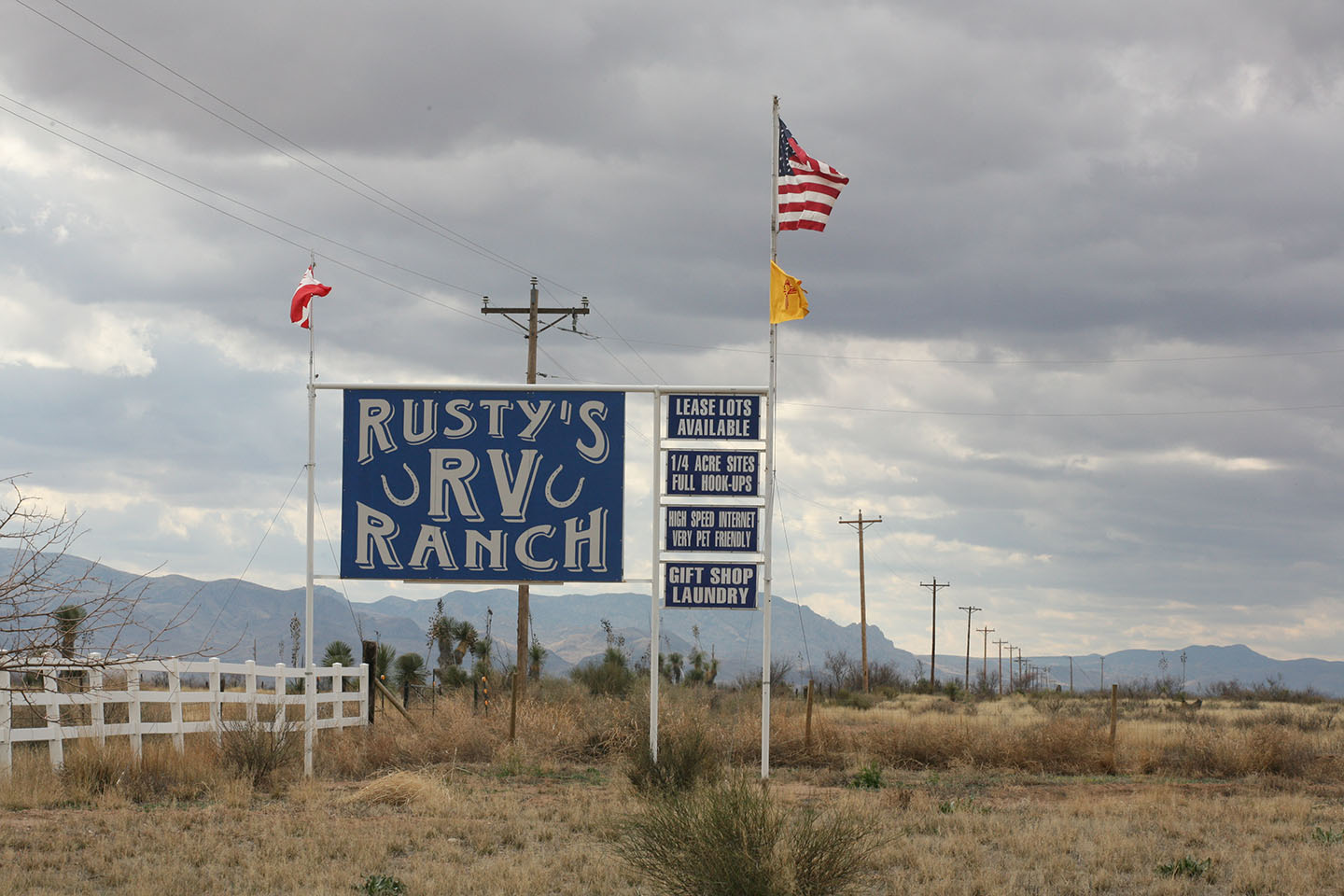 Roadside sign for Rusty's RV Ranch
