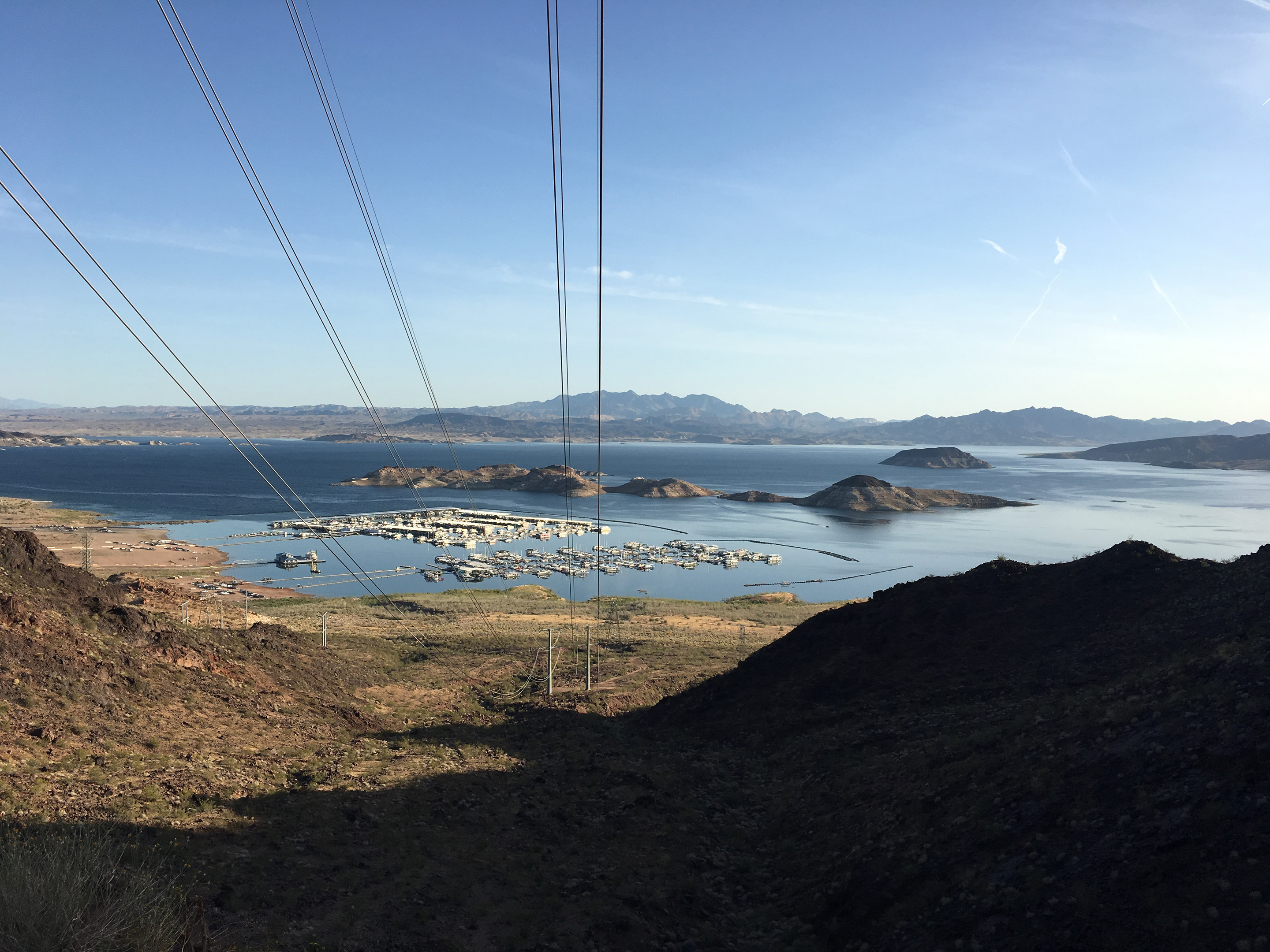 Lake Mead, with more Hoover Dam powerlines