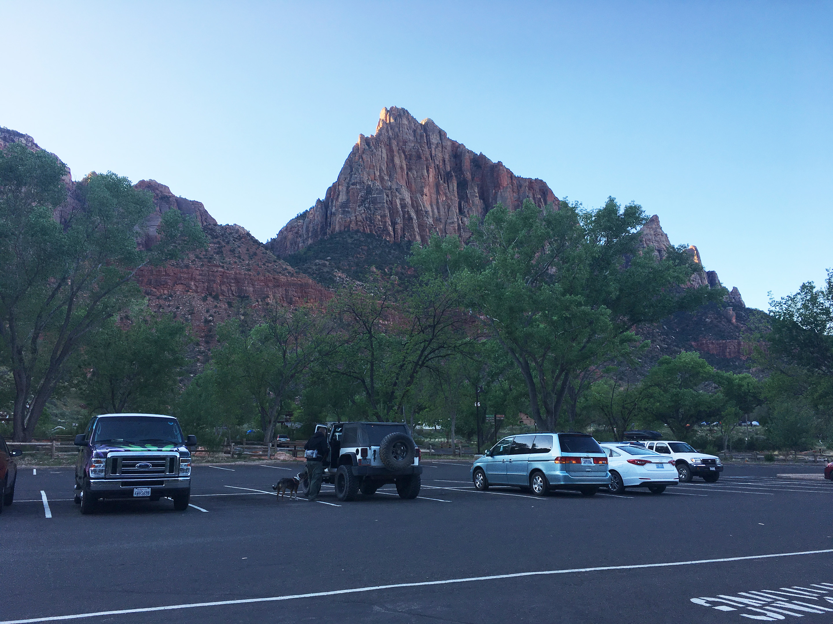 Zion's visitor center parking lot