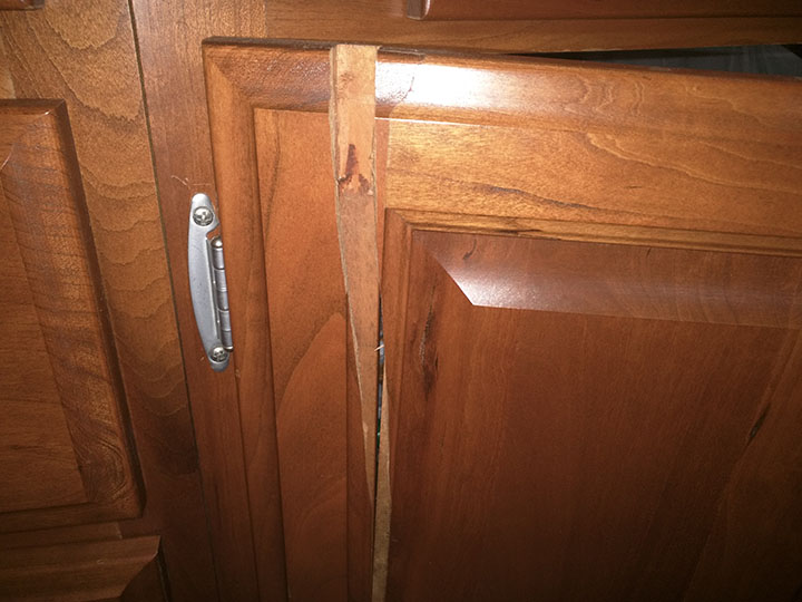 Cabinet door, in two pieces