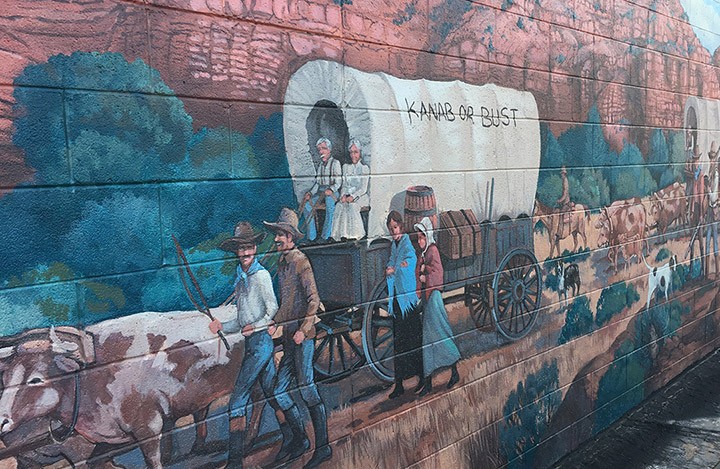 Mural of pilgrims on the way to Kanab